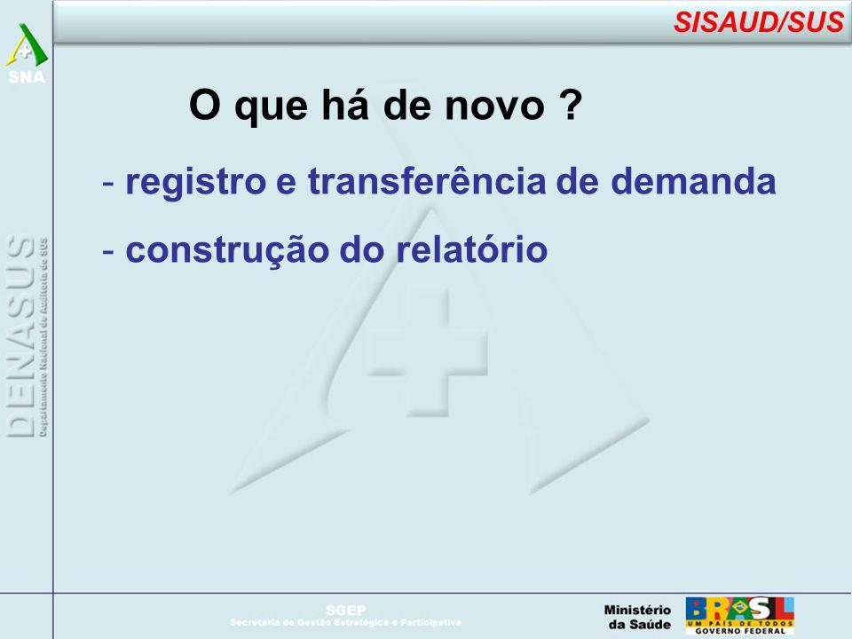 O que há de novo - registro e transferência de demanda - construção do relatório SISAUD/SUS