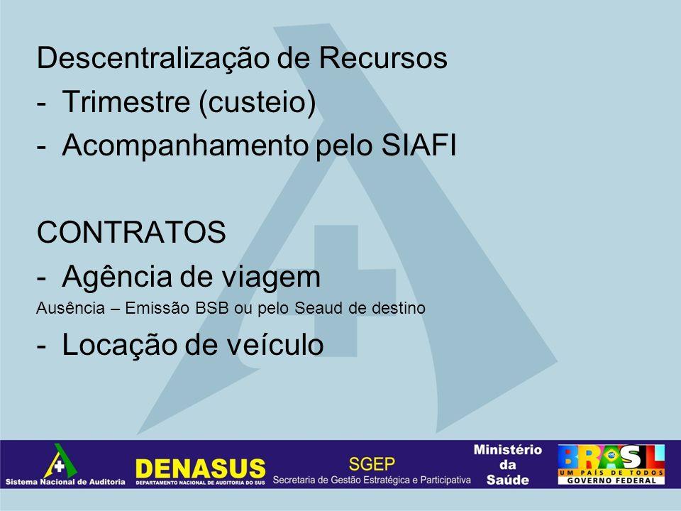 Descentralização de Recursos -Trimestre (custeio) -Acompanhamento pelo SIAFI CONTRATOS -Agência de viagem Ausência – Emissão BSB ou pelo Seaud de dest