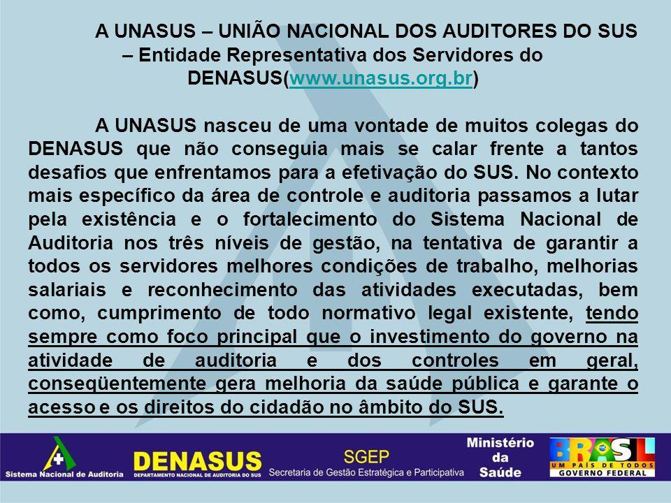 A UNASUS – UNIÃO NACIONAL DOS AUDITORES DO SUS – Entidade Representativa dos Servidores do DENASUS(www.unasus.org.br)www.unasus.org.br A UNASUS nasceu de uma vontade de muitos colegas do DENASUS que não conseguia mais se calar frente a tantos desafios que enfrentamos para a efetivação do SUS.