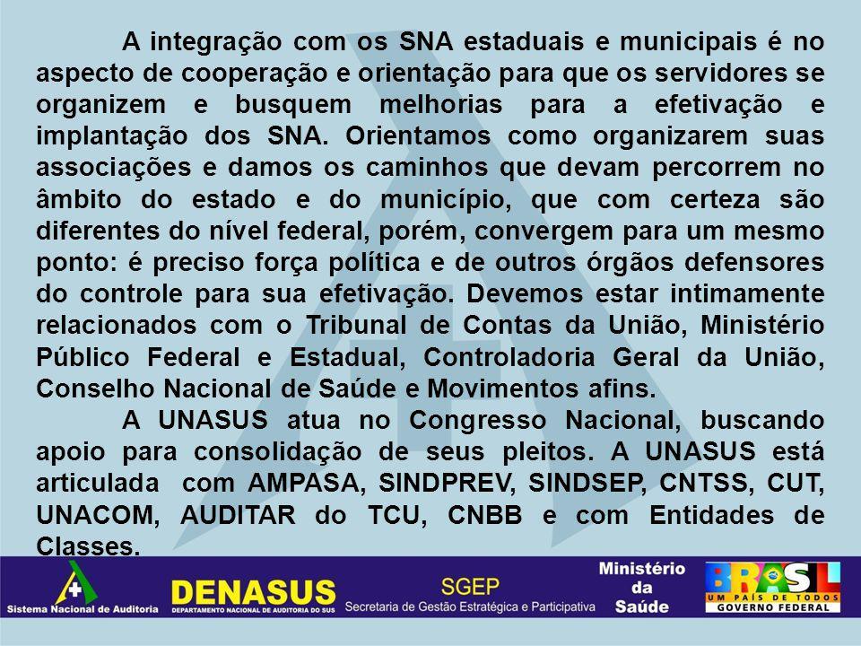 A integração com os SNA estaduais e municipais é no aspecto de cooperação e orientação para que os servidores se organizem e busquem melhorias para a efetivação e implantação dos SNA.