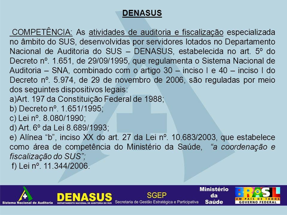 DENASUS COMPETÊNCIA: As atividades de auditoria e fiscalização especializada no âmbito do SUS, desenvolvidas por servidores lotados no Departamento Nacional de Auditoria do SUS – DENASUS, estabelecida no art.