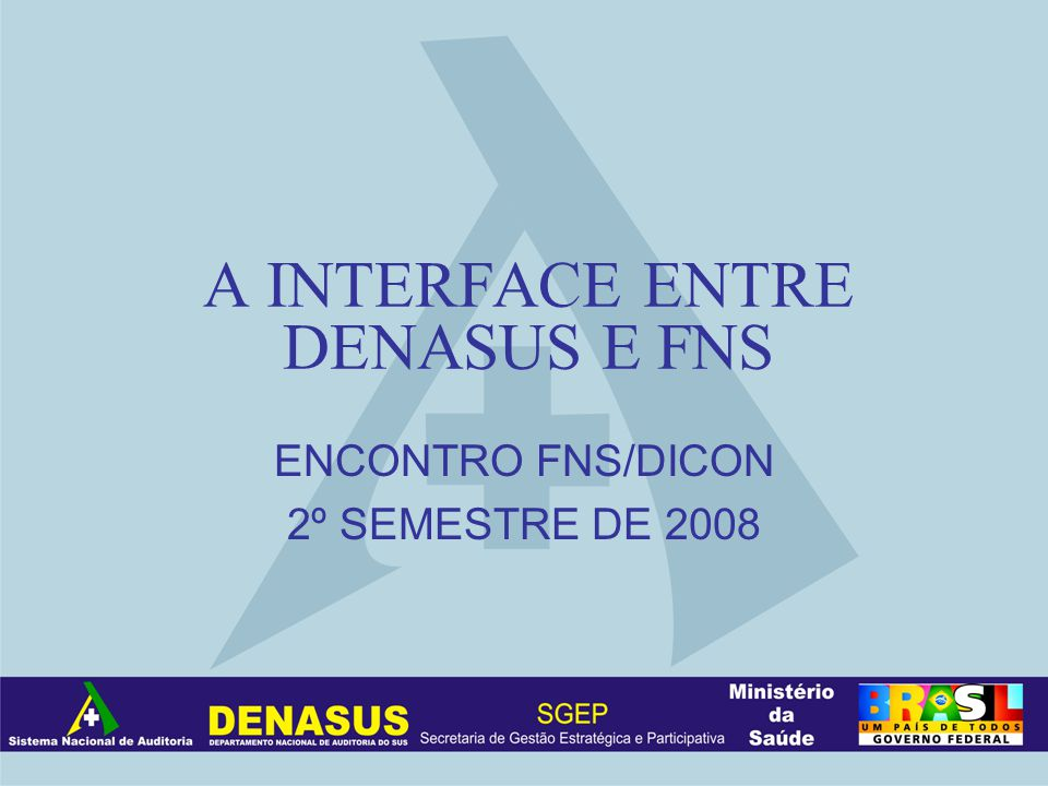 A INTERFACE ENTRE DENASUS E FNS ENCONTRO FNS/DICON 2º SEMESTRE DE 2008
