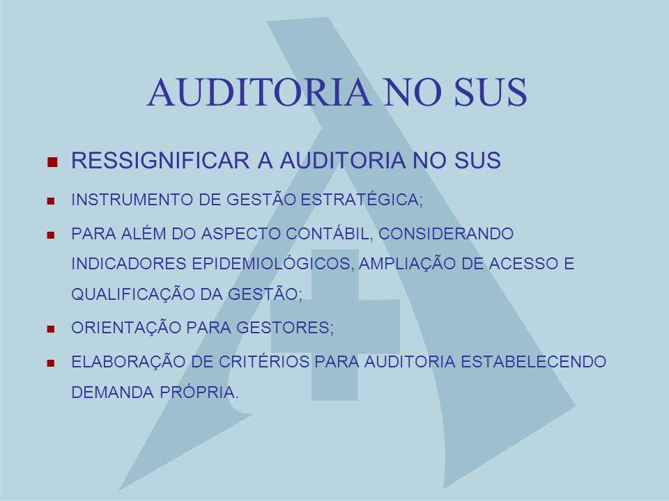AUDITORIA NO SUS RESSIGNIFICAR A AUDITORIA NO SUS INSTRUMENTO DE GESTÃO ESTRATÉGICA; PARA ALÉM DO ASPECTO CONTÁBIL, CONSIDERANDO INDICADORES EPIDEMIOLÓGICOS, AMPLIAÇÃO DE ACESSO E QUALIFICAÇÃO DA GESTÃO; ORIENTAÇÃO PARA GESTORES; ELABORAÇÃO DE CRITÉRIOS PARA AUDITORIA ESTABELECENDO DEMANDA PRÓPRIA.