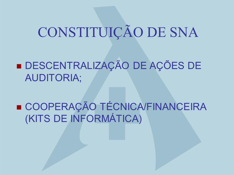 CONSTITUIÇÃO DE SNA DESCENTRALIZAÇÃO DE AÇÕES DE AUDITORIA; COOPERAÇÃO TÉCNICA/FINANCEIRA (KITS DE INFORMÁTICA)