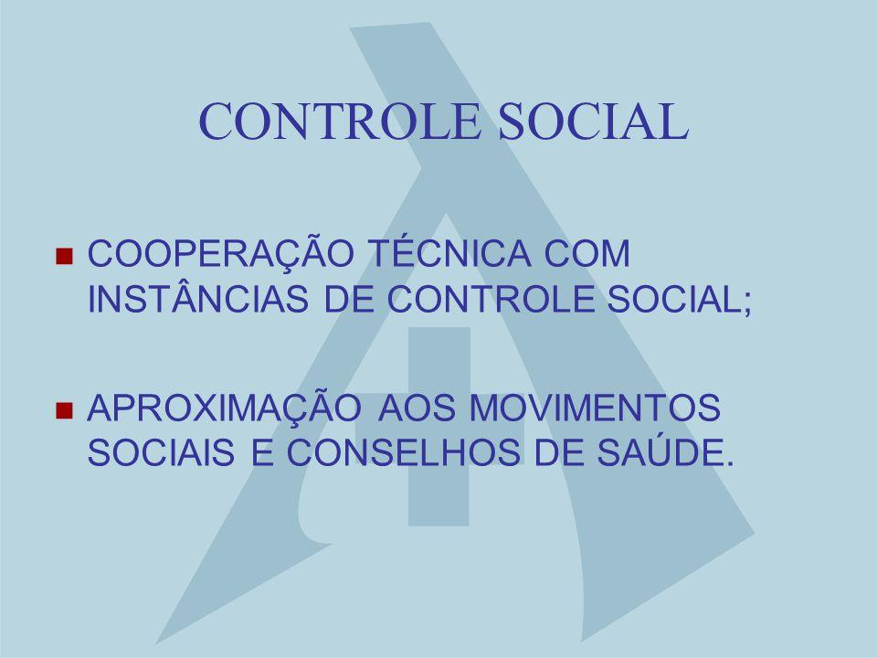 CONTROLE SOCIAL COOPERAÇÃO TÉCNICA COM INSTÂNCIAS DE CONTROLE SOCIAL; APROXIMAÇÃO AOS MOVIMENTOS SOCIAIS E CONSELHOS DE SAÚDE.