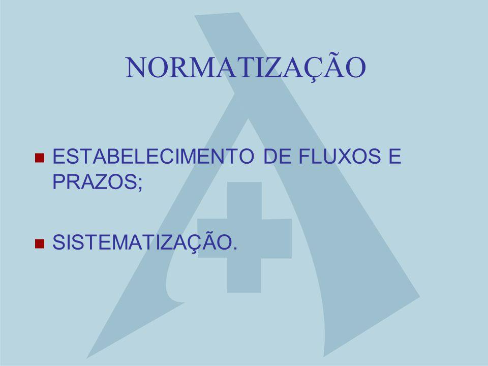 NORMATIZAÇÃO ESTABELECIMENTO DE FLUXOS E PRAZOS; SISTEMATIZAÇÃO.
