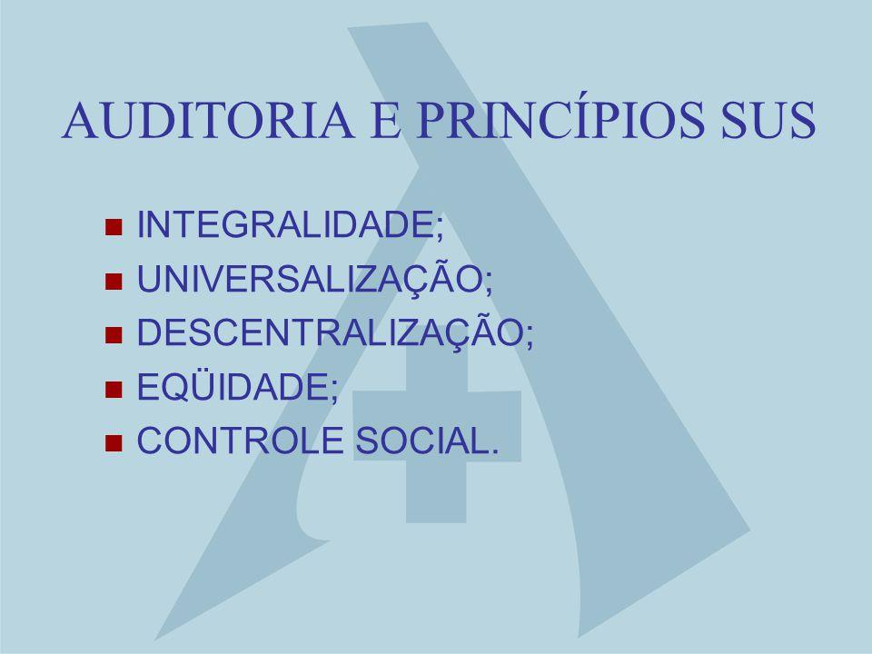 AUDITORIA E PRINCÍPIOS SUS INTEGRALIDADE; UNIVERSALIZAÇÃO; DESCENTRALIZAÇÃO; EQÜIDADE; CONTROLE SOCIAL.