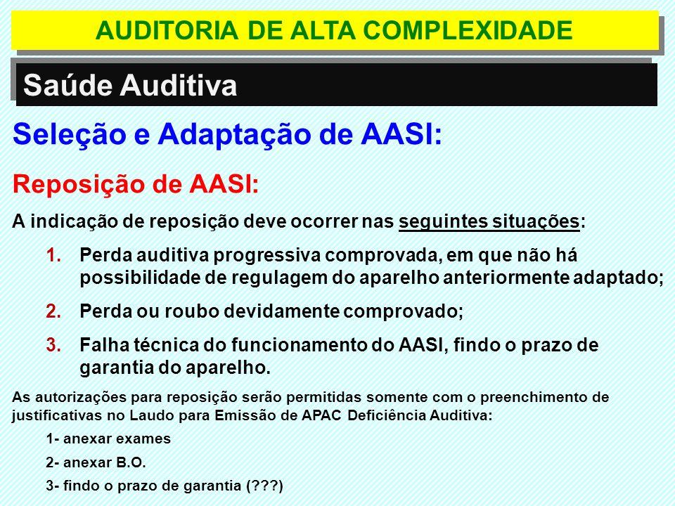 Seleção e Adaptação de AASI: Reposição de AASI: A indicação de reposição deve ocorrer nas seguintes situações: 1.Perda auditiva progressiva comprovada