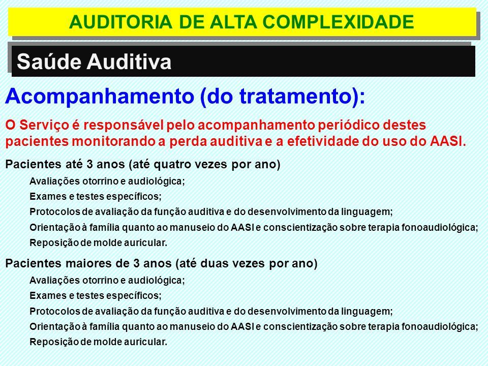 Saúde Auditiva Acompanhamento (do tratamento): O Serviço é responsável pelo acompanhamento periódico destes pacientes monitorando a perda auditiva e a