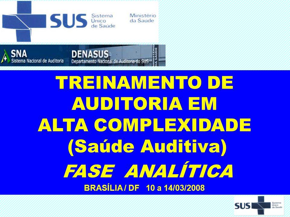 TREINAMENTO DE AUDITORIA EM ALTA COMPLEXIDADE (Saúde Auditiva) FASE ANALÍTICA BRASÍLIA / DF 10 a 14/03/2008