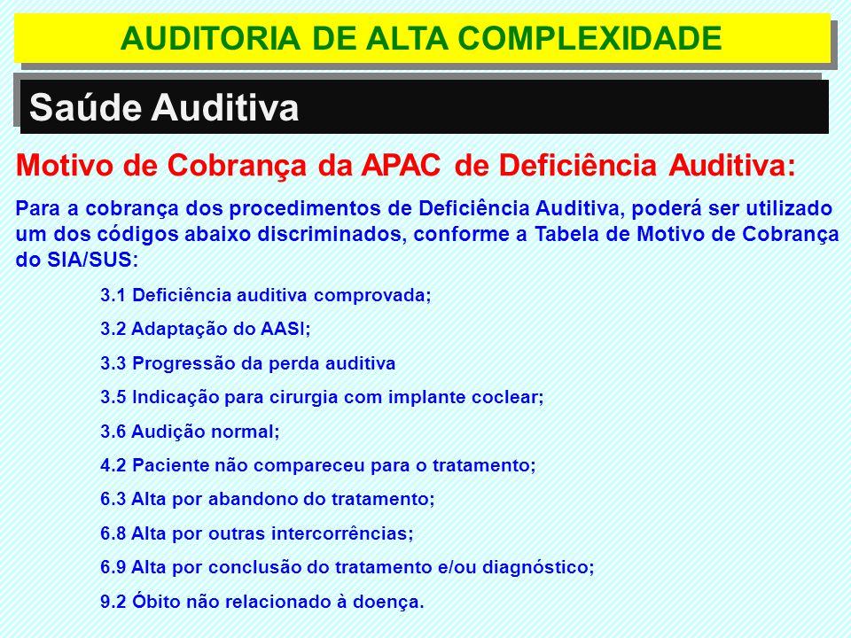 AUDITORIA DE ALTA COMPLEXIDADE Saúde Auditiva Motivo de Cobrança da APAC de Deficiência Auditiva: Para a cobrança dos procedimentos de Deficiência Aud