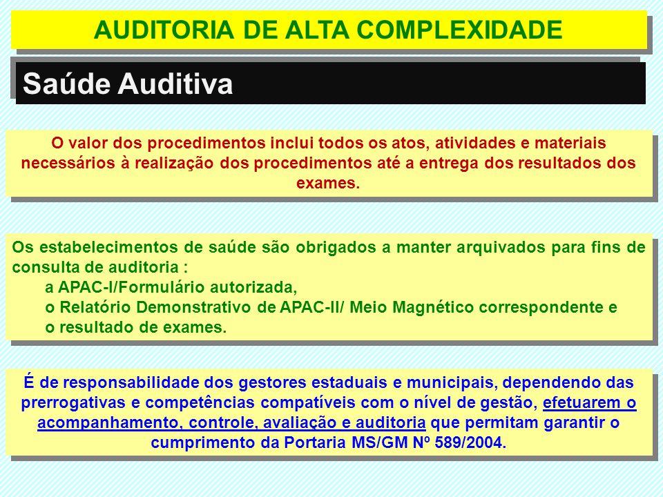 AUDITORIA DE ALTA COMPLEXIDADE Saúde Auditiva O valor dos procedimentos inclui todos os atos, atividades e materiais necessários à realização dos proc