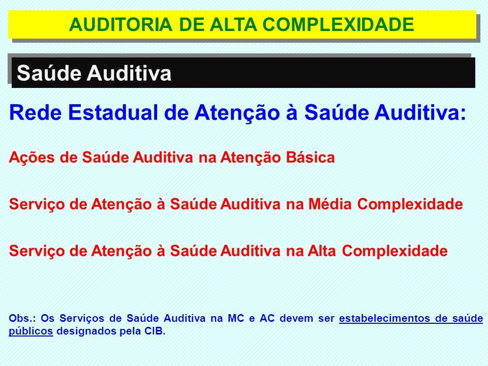 AUDITORIA DE ALTA COMPLEXIDADE Saúde Auditiva O valor dos procedimentos inclui todos os atos, atividades e materiais necessários à realização dos procedimentos até a entrega dos resultados dos exames.