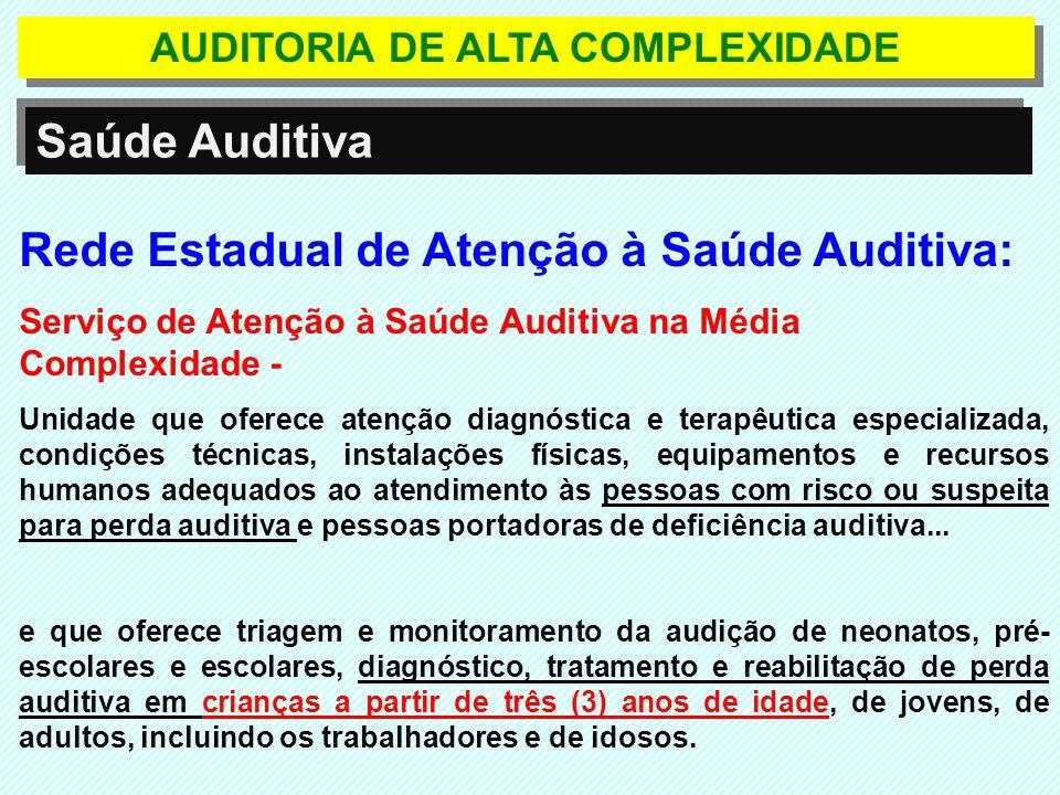 Rede Estadual de Atenção à Saúde Auditiva: Serviço de Atenção à Saúde Auditiva na Média Complexidade - Unidade que oferece atenção diagnóstica e terap
