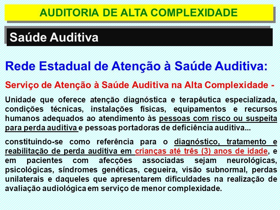 Rede Estadual de Atenção à Saúde Auditiva: Serviço de Atenção à Saúde Auditiva na Alta Complexidade - Unidade que oferece atenção diagnóstica e terapê