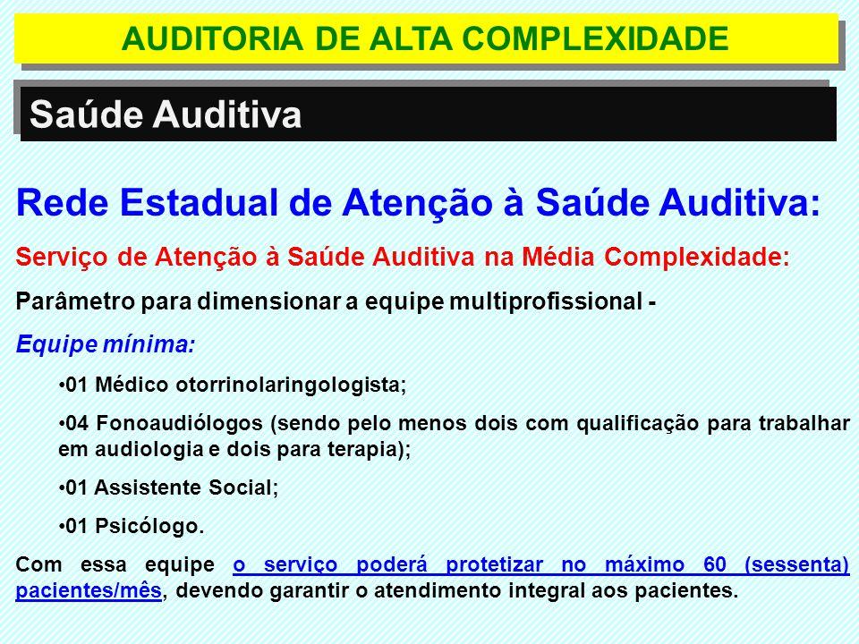 Rede Estadual de Atenção à Saúde Auditiva: Serviço de Atenção à Saúde Auditiva na Média Complexidade: Parâmetro para dimensionar a equipe multiprofiss