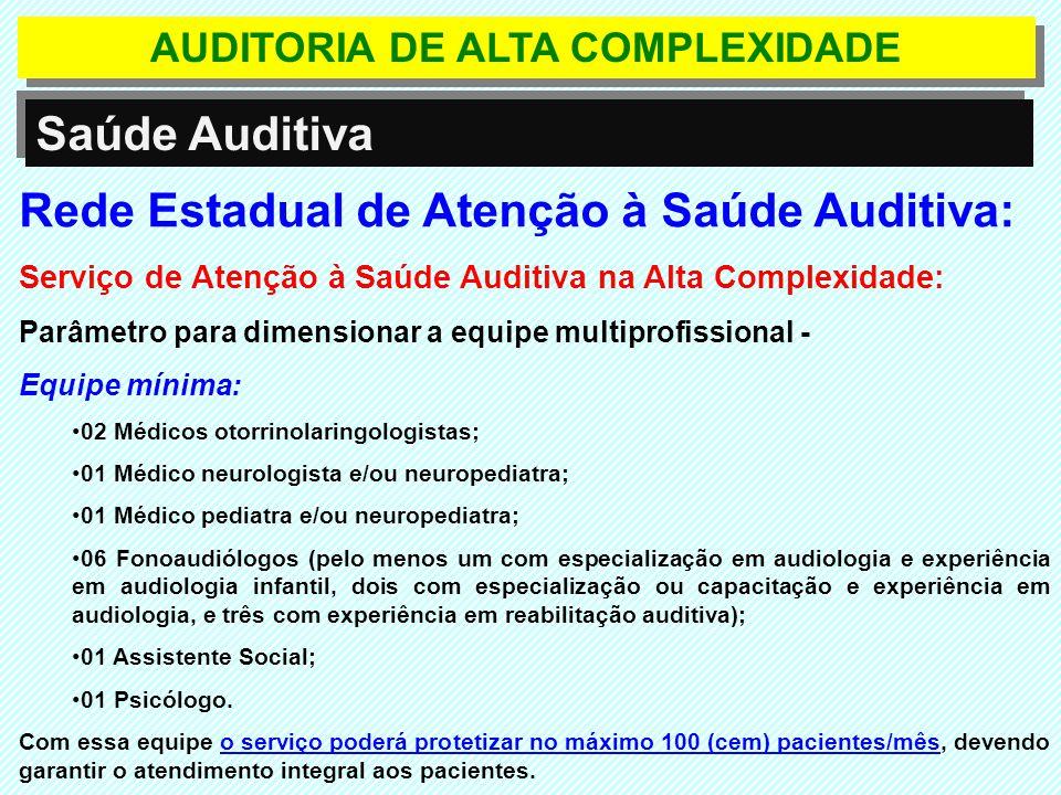 Rede Estadual de Atenção à Saúde Auditiva: Serviço de Atenção à Saúde Auditiva na Alta Complexidade: Parâmetro para dimensionar a equipe multiprofissi