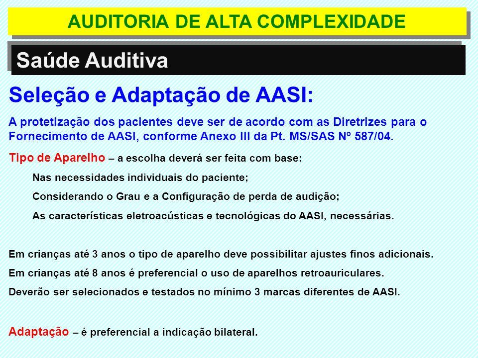 AUDITORIA DE ALTA COMPLEXIDADE Saúde Auditiva A APAC-I/Formulário será emitida somente para os procedimentos abaixo (Procedimento Principal) e valerá por até 3 competências: 39.021.01-7 AASI externo retroauricular tipo A; 39.021.02-5 AASI externo retroauricular tipo B; 39.021.03-3 AASI externo retroauricular tipo C; 39.021.04-1 AASI externo intra - auricular tipo A; 39.021.05-0 AASI externo intra - auricular tipo B; 39.021.06-8 AASI externo intra - auricular tipo C; 39.021.07-6 AASI externo intra - canal tipo A; 39.021.08-4 AASI externo intra - canal tipo B; 39.021.09-2 AASI externo intra - canal tipo C; 39.021.10-6 AASI externo micro - canal tipo A; 39.021.11-4 AASI externo micro - canal tipo B; 39.021.12-2 AASI externo micro - canal tipo C; 39.021.13-0 AASI externo de condução óssea convencional tipo A; 39.021.14-9 AASI externo de condução óssea retroauricular tipo A;