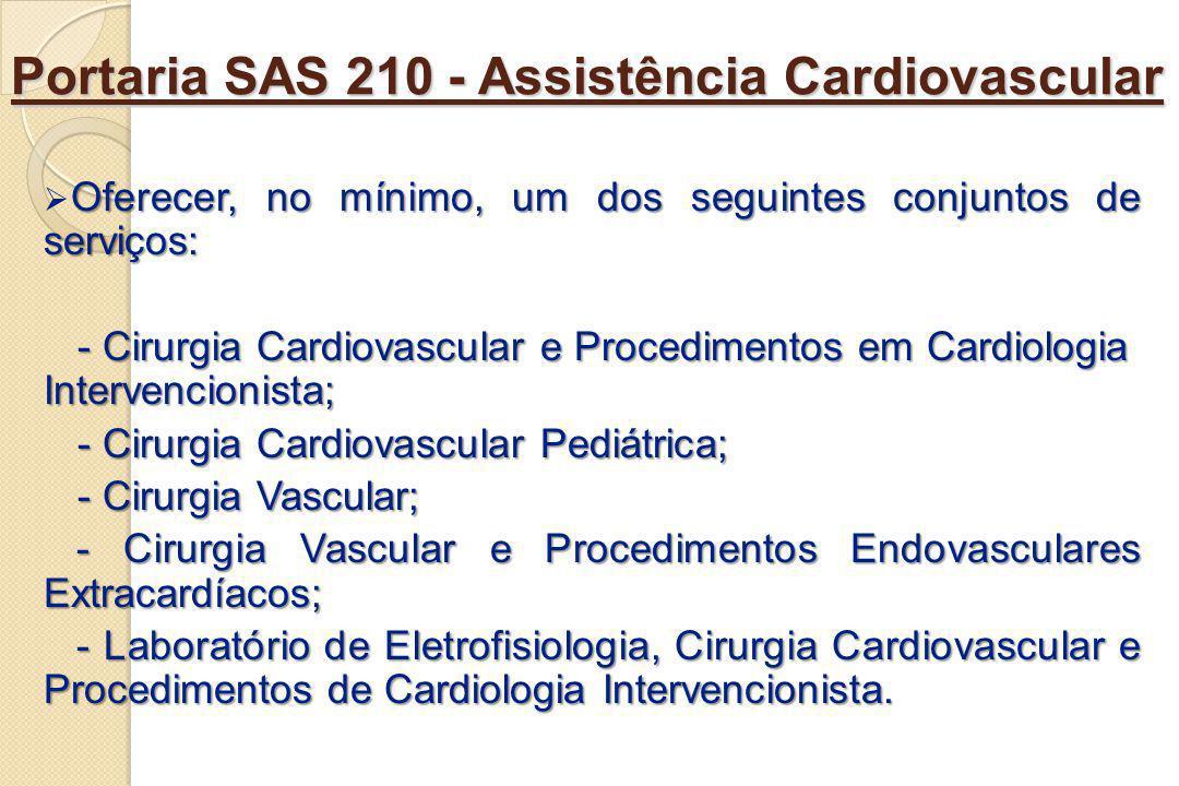 Portaria SAS 210 - Assistência Cardiovascular Oferecer, no mínimo, um dos seguintes conjuntos de serviços: - Cirurgia Cardiovascular e Procedimentos e