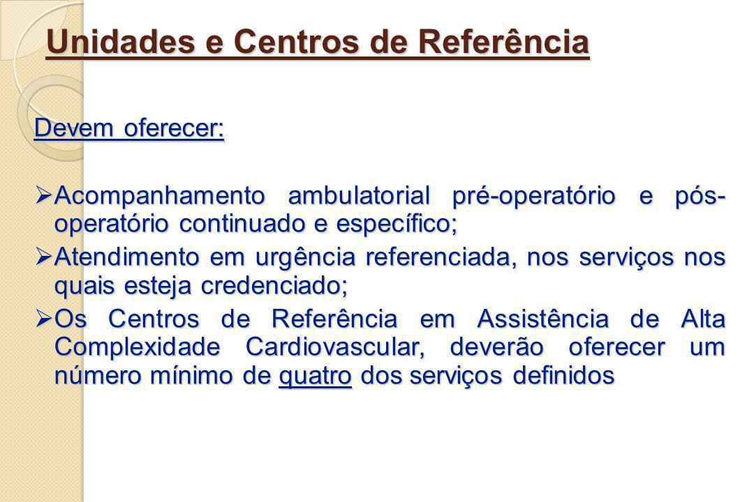 Unidades e Centros de Referência Devem oferecer: Acompanhamento ambulatorial pré-operatório e pós- operatório continuado e específico; Acompanhamento
