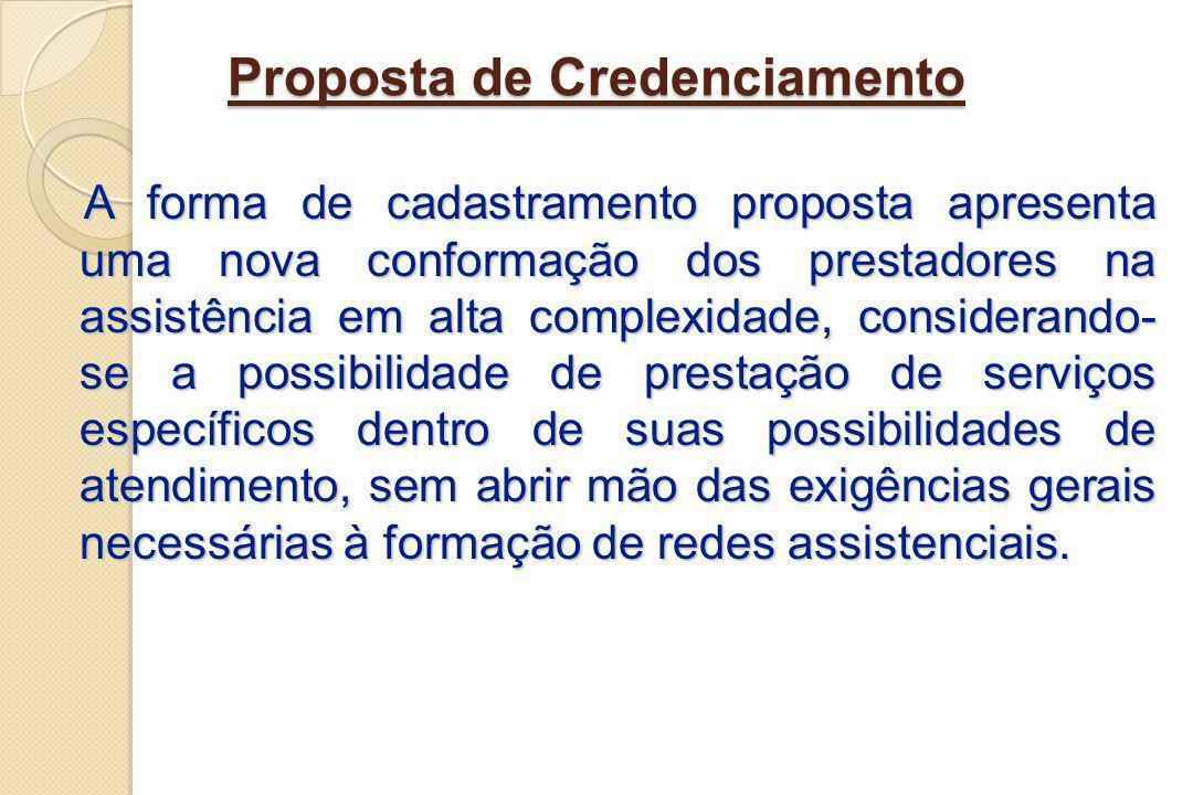 Proposta de Credenciamento A forma de cadastramento proposta apresenta uma nova conformação dos prestadores na assistência em alta complexidade, consi