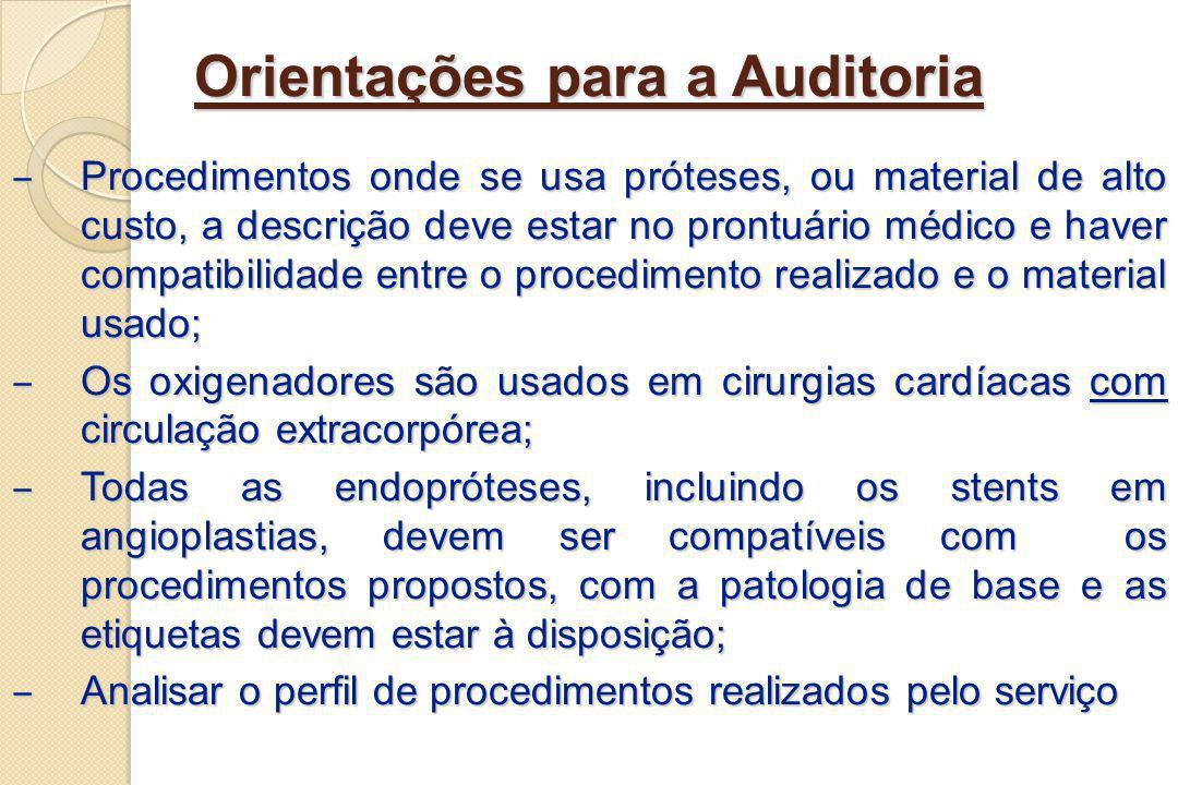 Orientações para a Auditoria Procedimentos onde se usa próteses, ou material de alto custo, a descrição deve estar no prontuário médico e haver compat