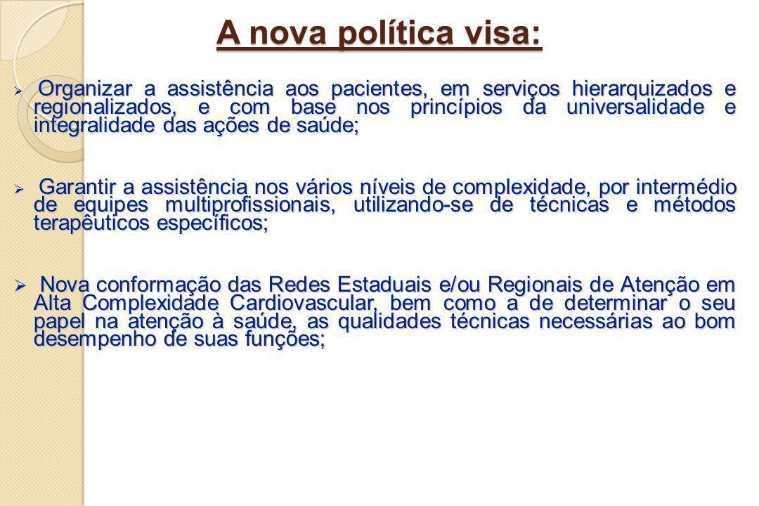 A nova política visa: Organizar a assistência aos pacientes, em serviços hierarquizados e regionalizados, e com base nos princípios da universalidade