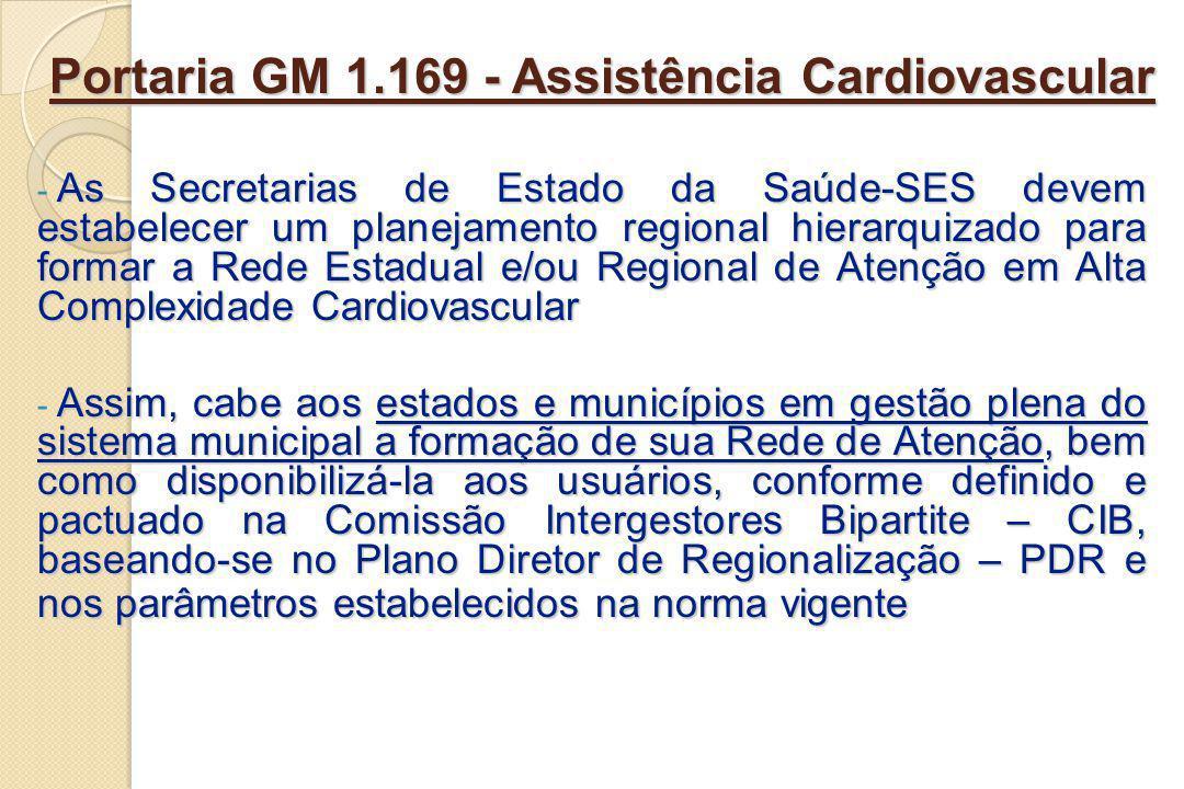 Portaria SAS 210 - Assistência Cardiovascular Unidades de Assistência em Alta Complexidade Cardiovascular (média e alta complexidade) Unidades de Assistência em Alta Complexidade Cardiovascular (média e alta complexidade) a- Serviço de Assistência de Alta Complexidade em Cirurgia Cardiovascular (> 12 anos); b- Serviço de Assistência de Alta Complexidade em Cirurgia Cardiovascular Pediátrica (0 a 18 anos); c- Serviço de Assistência de Alta Complexidade em Cirurgia Vascular; d- Serviço de Assistência de Alta Complexidade em Procedimentos da Cardiologia Intervencionista; e- Serviço de Assistência de Alta Complexidade em Procedimentos Endovasculares Extracardíacos; f- Serviço de Assistência de Alta Complexidade em Laboratório de Eletrofisiologia.