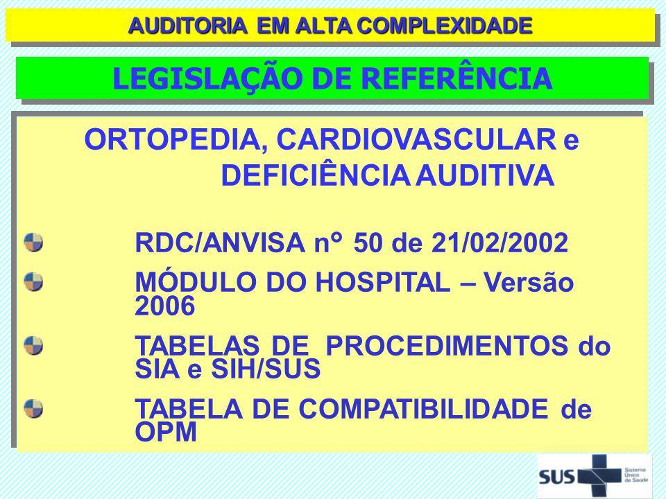 ORTOPEDIA, CARDIOVASCULAR e DEFICIÊNCIA AUDITIVA RDC/ANVISA n° 50 de 21/02/2002 MÓDULO DO HOSPITAL – Versão 2006 TABELAS DE PROCEDIMENTOS do SIA e SIH