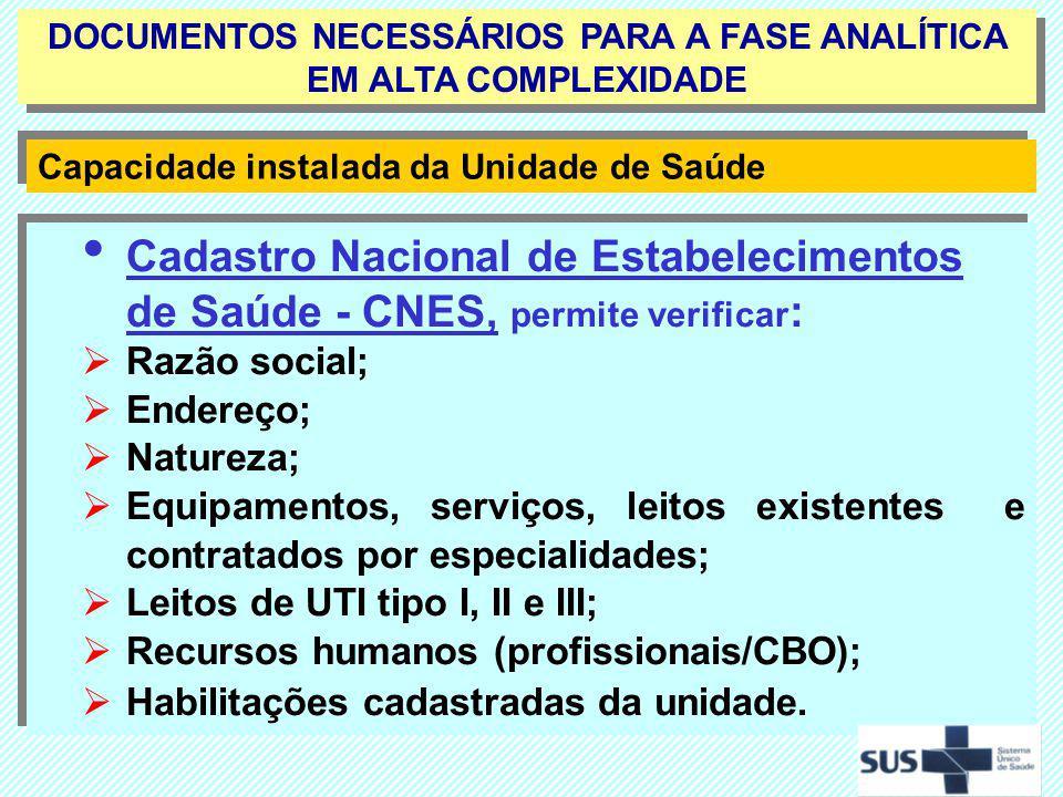 Cadastro Nacional de Estabelecimentos de Saúde - CNES, permite verificar : Razão social; Endereço; Natureza; Equipamentos, serviços, leitos existentes