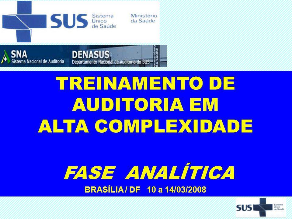 TREINAMENTO DE AUDITORIA EM ALTA COMPLEXIDADE FASE ANALÍTICA BRASÍLIA / DF 10 a 14/03/2008
