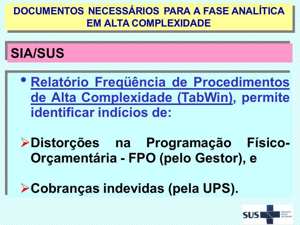 DOCUMENTOS NECESSÁRIOS PARA A FASE ANALÍTICA EM ALTA COMPLEXIDADE SIA/SUS Relatório Freqüência de Procedimentos de Alta Complexidade (TabWin), permite