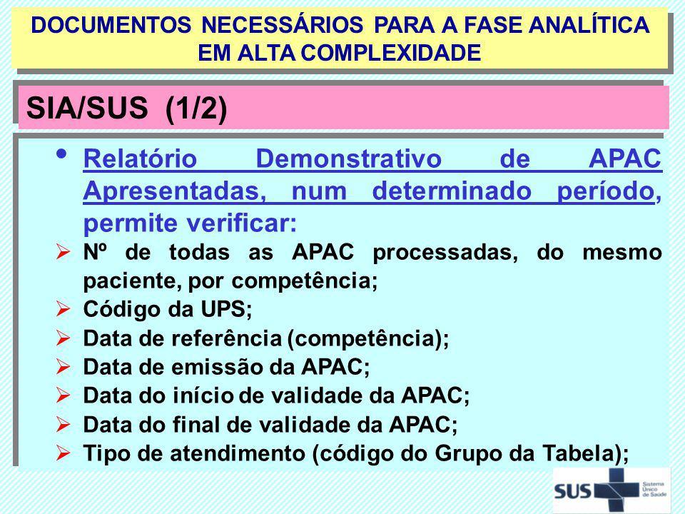 Relatório Demonstrativo de APAC Apresentadas, num determinado período, permite verificar: Nº de todas as APAC processadas, do mesmo paciente, por comp