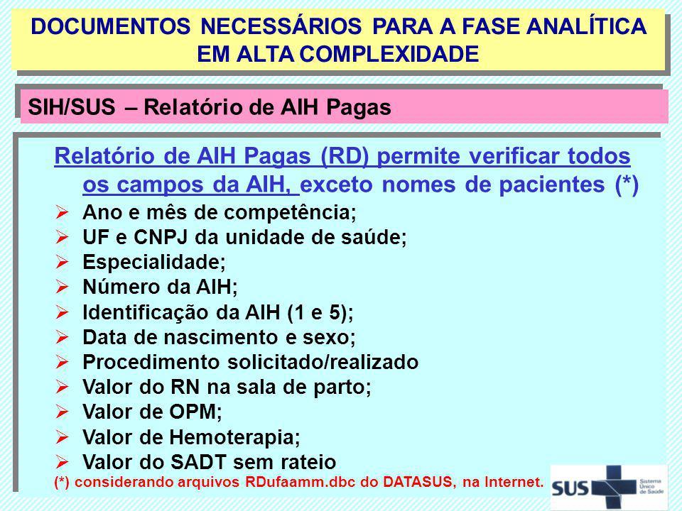 Relatório de AIH Pagas (RD) permite verificar todos os campos da AIH, exceto nomes de pacientes (*) Ano e mês de competência; UF e CNPJ da unidade de