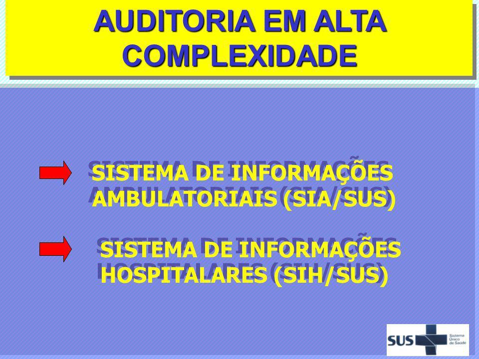 AUDITORIA EM ALTA COMPLEXIDADE SISTEMA DE INFORMAÇÕES AMBULATORIAIS (SIA/SUS) SISTEMA DE INFORMAÇÕES HOSPITALARES (SIH/SUS) SISTEMA DE INFORMAÇÕES AMB
