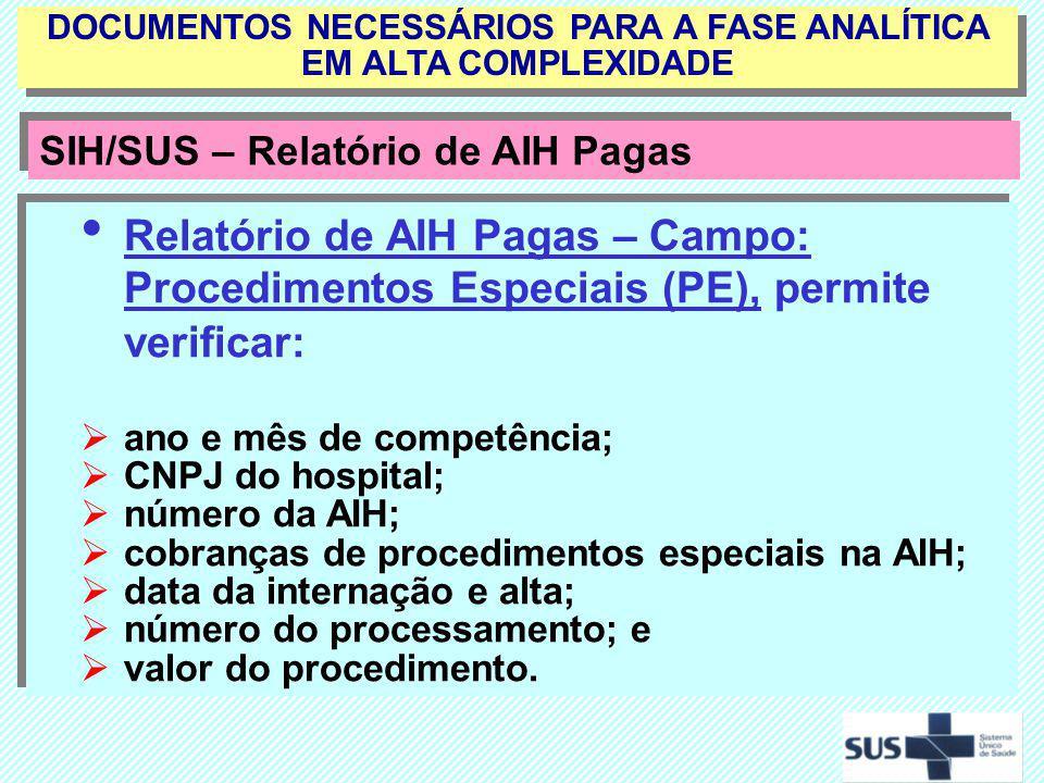 Relatório de AIH Pagas – Campo: Procedimentos Especiais (PE), permite verificar: ano e mês de competência; CNPJ do hospital; número da AIH; cobranças
