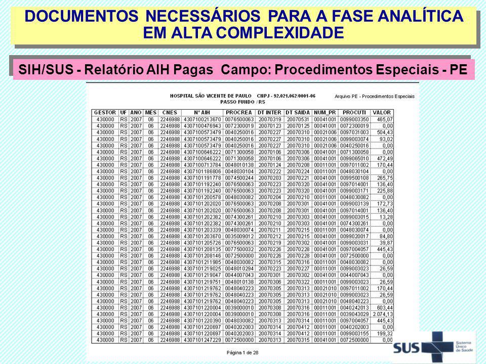 DOCUMENTOS NECESSÁRIOS PARA A FASE ANALÍTICA EM ALTA COMPLEXIDADE SIH/SUS - Relatório AIH Pagas Campo: Procedimentos Especiais - PE