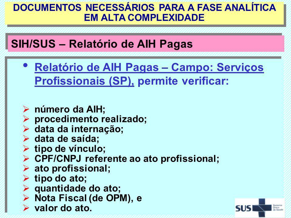 Relatório de AIH Pagas – Campo: Serviços Profissionais (SP), permite verificar: número da AIH; procedimento realizado; data da internação; data de saí