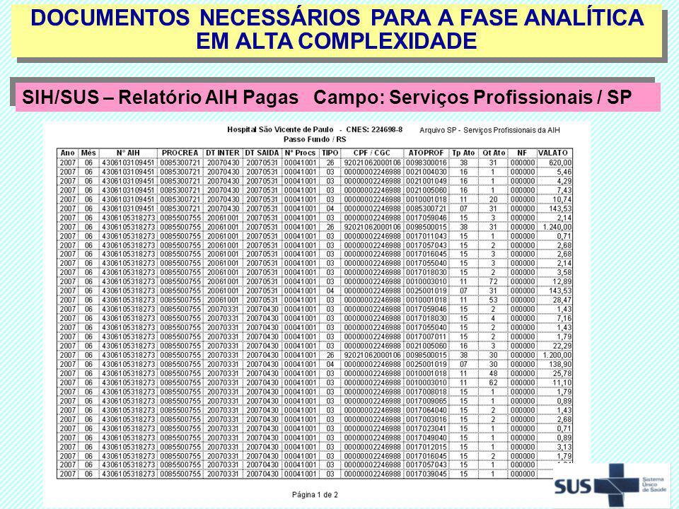 DOCUMENTOS NECESSÁRIOS PARA A FASE ANALÍTICA EM ALTA COMPLEXIDADE SIH/SUS – Relatório AIH Pagas Campo: Serviços Profissionais / SP SIH/SUS – Relatório