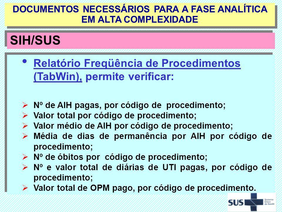 Relatório Freqüência de Procedimentos (TabWin), permite verificar: Nº de AIH pagas, por código de procedimento; Valor total por código de procedimento