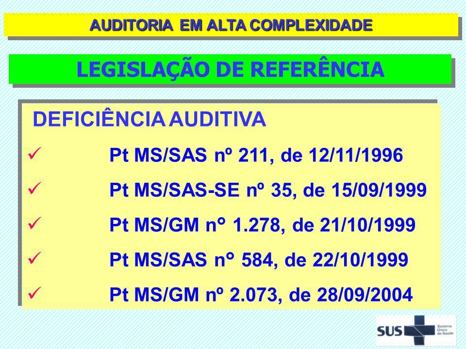 DEFICIÊNCIA AUDITIVA Pt MS/SAS nº 587, de 07/10/2004 Pt MS/SAS nº 589, de 08/10/2004 Pt MS/GM n° 626, de 23/03/2006 Pt MS/GM n° 2.943, de 20/11/2006 Pt MS/GM n° 308 de 10/05/2007 DEFICIÊNCIA AUDITIVA Pt MS/SAS nº 587, de 07/10/2004 Pt MS/SAS nº 589, de 08/10/2004 Pt MS/GM n° 626, de 23/03/2006 Pt MS/GM n° 2.943, de 20/11/2006 Pt MS/GM n° 308 de 10/05/2007 LEGISLAÇÃO DE REFERÊNCIA AUDITORIA EM ALTA COMPLEXIDADE