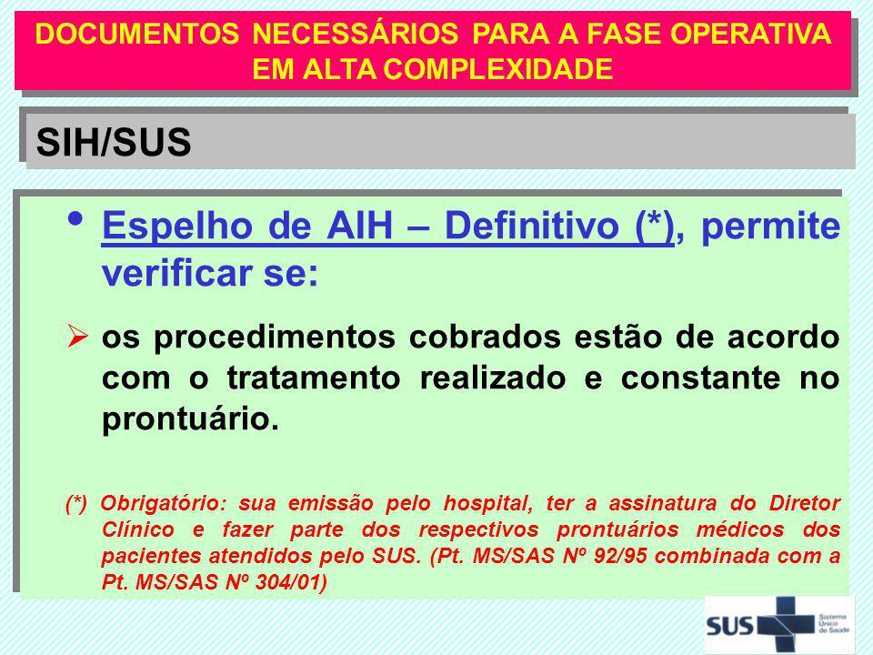 Espelho de AIH – Definitivo (*), permite verificar se: os procedimentos cobrados estão de acordo com o tratamento realizado e constante no prontuário.