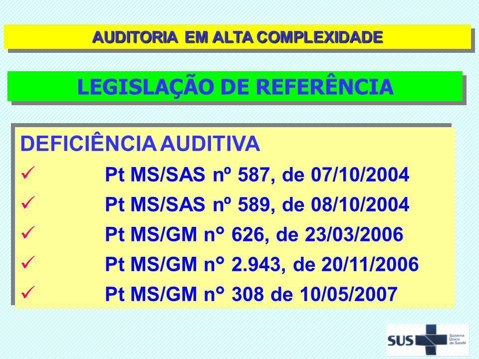 DEFICIÊNCIA AUDITIVA Pt MS/SAS nº 587, de 07/10/2004 Pt MS/SAS nº 589, de 08/10/2004 Pt MS/GM n° 626, de 23/03/2006 Pt MS/GM n° 2.943, de 20/11/2006 P