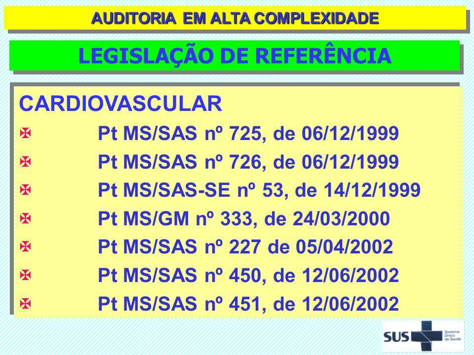 CARDIOVASCULAR Pt MS/SAS nº 897 de 17/12/2002 Pt MS/GM nº 1.169 de 15/06/2004 Pt MS/SAS nº 210 de 15/06/2004 Pt MS/SAS nº 215 de 15/06/2004 Pt MS/SAS nº 216 de 15/06/2004 Pt MS/SAS nº 217 de 15/06/2004 Pt MS/SAS nº 218 de 15/06/2004 CARDIOVASCULAR Pt MS/SAS nº 897 de 17/12/2002 Pt MS/GM nº 1.169 de 15/06/2004 Pt MS/SAS nº 210 de 15/06/2004 Pt MS/SAS nº 215 de 15/06/2004 Pt MS/SAS nº 216 de 15/06/2004 Pt MS/SAS nº 217 de 15/06/2004 Pt MS/SAS nº 218 de 15/06/2004 LEGISLAÇÃO DE REFERÊNCIA AUDITORIA EM ALTA COMPLEXIDADE