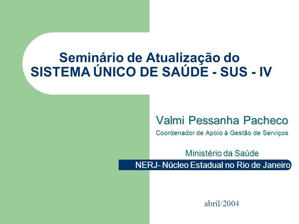 Seminário de Atualização do SISTEMA ÚNICO DE SAÚDE - SUS - IV abril/2004