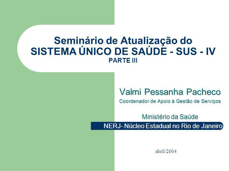Seminário de Atualização do SISTEMA ÚNICO DE SAÚDE - SUS - IV PARTE III abril/2004