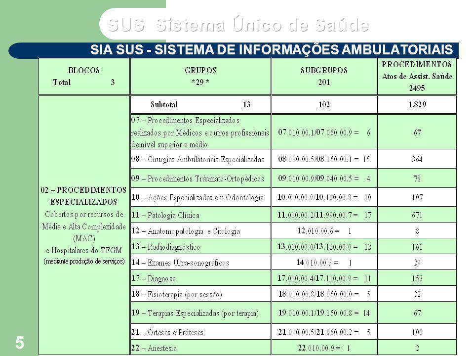 VP2 abril/2004 Seminário de Atualização do SUS IV – NERJ - MS 6 SIA SUS - SISTEMA DE INFORMAÇÕES AMBULATORIAIS