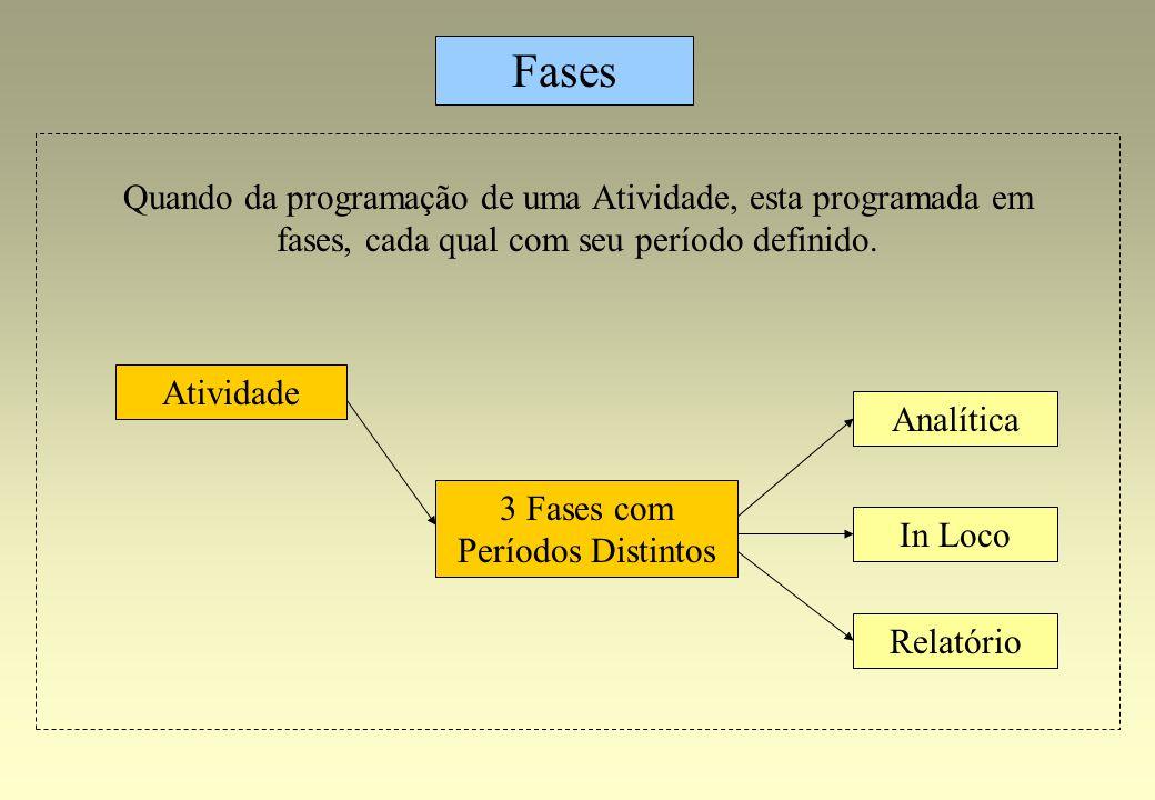 Analítica Relatório Fases Atividade 3 Fases com Períodos Distintos In Loco Quando da programação de uma Atividade, esta programada em fases, cada qual