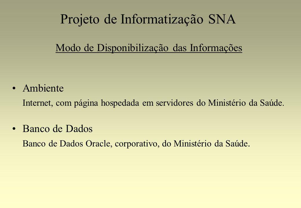 Projeto de Informatização SNA Modo de Disponibilização das Informações Ambiente Internet, com página hospedada em servidores do Ministério da Saúde. B