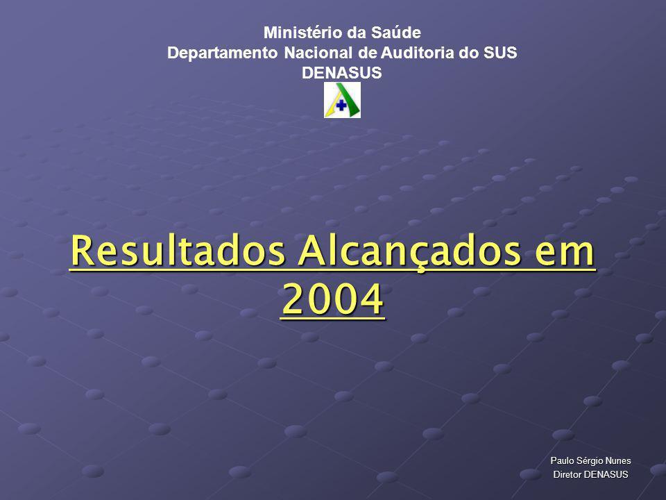 Resultados Alcançados em 2004 Paulo Sérgio Nunes Diretor DENASUS Ministério da Saúde Departamento Nacional de Auditoria do SUS DENASUS
